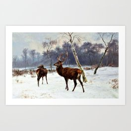 Rosa Bonheur - Deer And Doe In A Snowy Landscape - Digital Remastered Edition Art Print