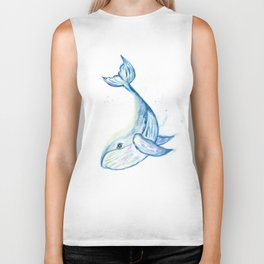 Cute whale watercolor Biker Tank