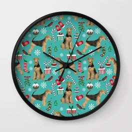 Airedale Terrier Christmas dog print dog pattern airedale pillow airedale phone case Wall Clock