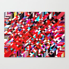 geometric square pixel pattern abstract background in red blue pink Canvas Print