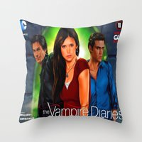 vampire diaries Throw Pillows featuring The Vampire Diaries by Don Kuing