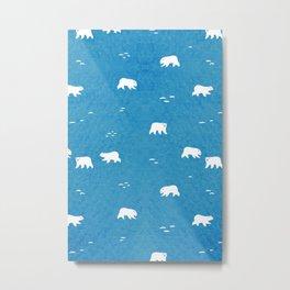 Polar Bears Pattern Metal Print