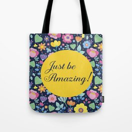Cute Pink Yellow Green Purple Floral on Navy Blue Tote Bag
