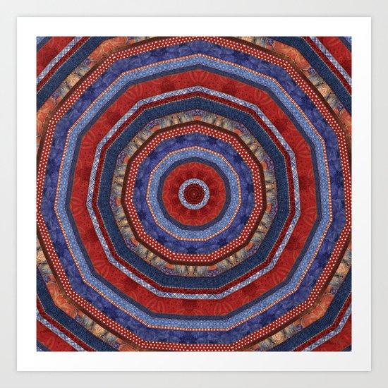 Patriotic Patchwork Circles Art Print