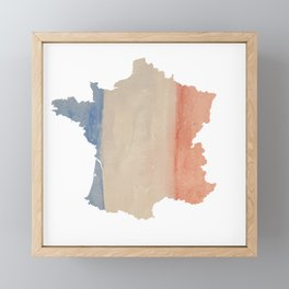 France Outlne with Tri-color Flag in Watercolors Framed Mini Art Print
