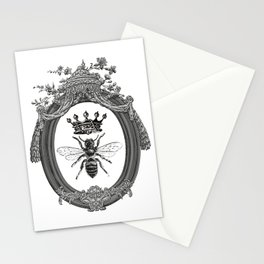 Queen Bee | Vintage Bee with Crown | Black, White and Grey | Stationery Cards