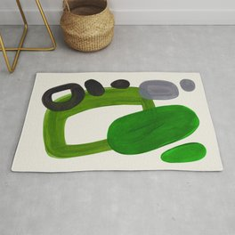 Minimalist Modern Mid Century Colorful Abstract Shapes Olive Green Retro Funky Shapes 60's Vintage Rug