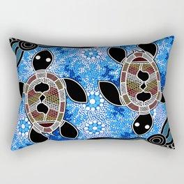 Sea Turtles - Authentic Aboriginal Art Rectangular Pillow