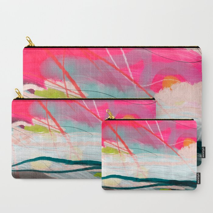 abstract landscape with pink sky over white cloud mountain Carry-All Pouch