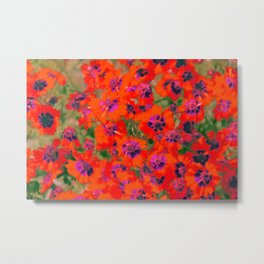 blooming red flower with green leaf background Metal Print