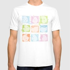 Cat Blobs Mens Fitted Tee SMALL White