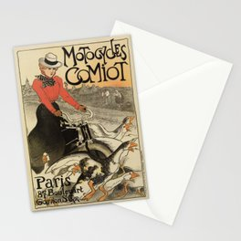 1899 vintage French motorcycle ad by Steinlen Stationery Cards
