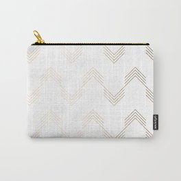 Simply Deconstructed Chevron White Gold Sands on White Carry-All Pouch