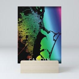 Cancún, Quintana Roo, Mexico, City, Map, Rainbow, Map, Art, Print Mini Art Print
