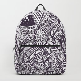 Purple white hand painted tribal bohemian feathers pattern Backpack