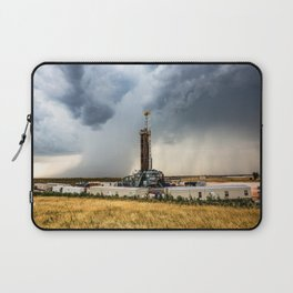 Nevermind the Weather - Oil Rig and Passing Storm in Oklahoma Laptop Sleeve
