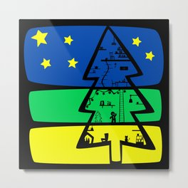 Gingerbread Man's Christmas Tree House Metal Print