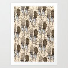 Bouffant Birds Pattern Art Print