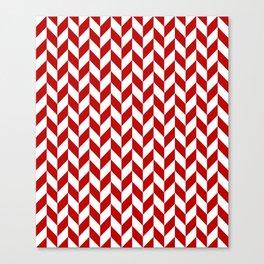 Red and White Herringbone Pattern Canvas Print