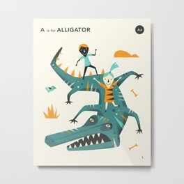 A is for ALLIGATOR Metal Print