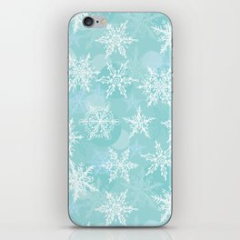 blue winter background with white snowflakes iPhone Skin