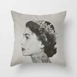 tattoo #queen #vintage Throw Pillow