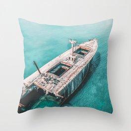 Shipwreck Print, Ship On The Ocean, Ocean Art, Ocean Print, Abstract Ocean, Aerial Photography, Photography Print, Art Home Decor Print Throw Pillow