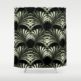 Tropical leaves in black background Shower Curtain