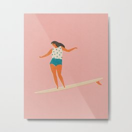 Surf girl print Metal Print