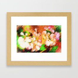 White geraniums Framed Art Print