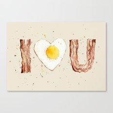 Bacon and Egg I love You Breakfast Food I heart Canvas Print