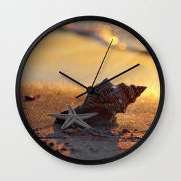 Golden Summer on the Beach Wall Clock