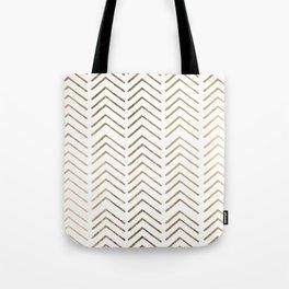 Elegant white faux gold chevron geometrical pattern Tote Bag