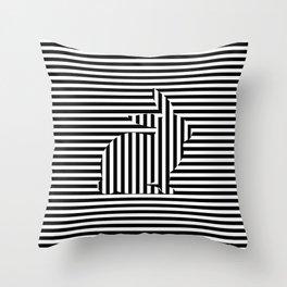 Rabbit on Stripes Throw Pillow