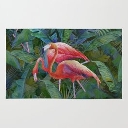 tropical pattern with flamingos Rug