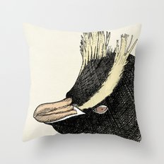 Erect Crested Penguin Throw Pillow