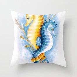 Seahorses Orange And Blue Watercolor Art Throw Pillow