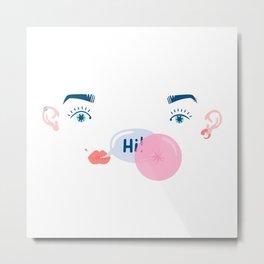 """bubble """"hi"""" Metal Print"""