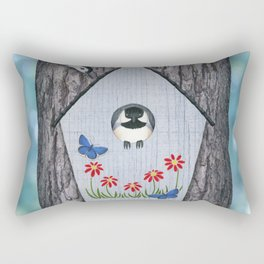 black capped chickadee, white breasted nuthatch, and bird house Rectangular Pillow