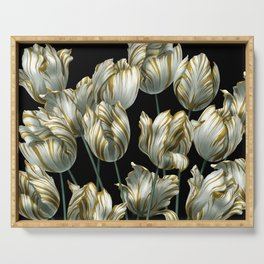 Winter Tulips in Gold. Serving Tray