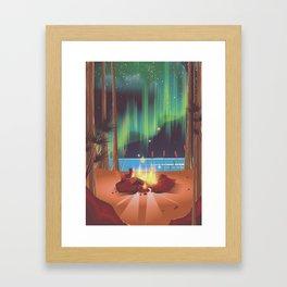 vintage camp fire Framed Art Print