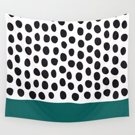 "Elegant Handpainted Polka Dots with ""Shaded Spruce"", Fall, Autumn Color Wall Tapestry"