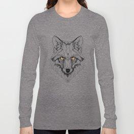 Red Fox (black stroke version for t-shirts) Long Sleeve T-shirt