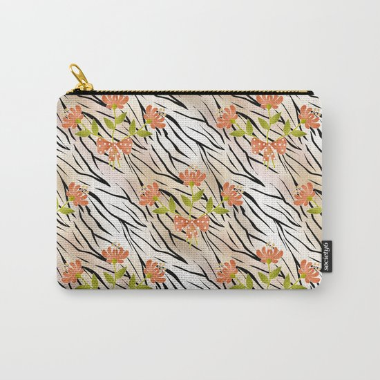 Floral pattern on a tiger background . Carry-All Pouch