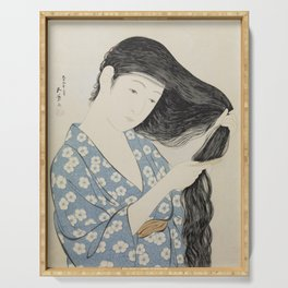 Hashiguchi Goyo: Woman Combing Her Hair Japanese Woodblock Print Blue Floral Kimono Black Hair Serving Tray