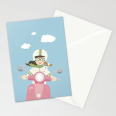 Scooter Girl with Dog Illustration Stationery Cards