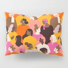 Female diverse faces pink Pillow Sham