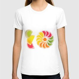 multicolored chewy gumdrops sweets T-shirt