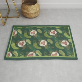 Macaques & Squash (forest green) Rug