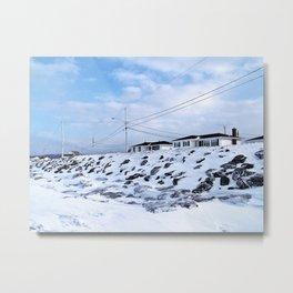 Sea Wall And Twin Houses Metal Print